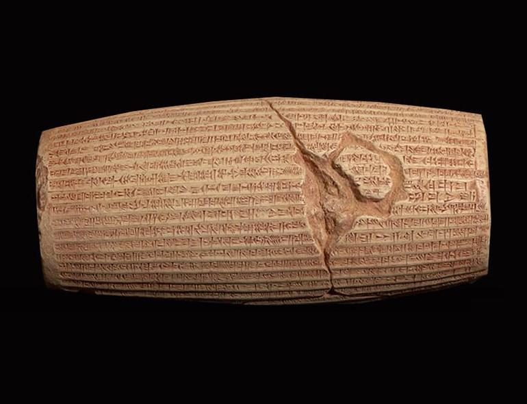 Inscripciones cilindros de arcilla cultura Babilónica
