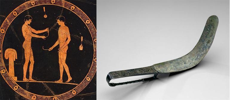 """Utensilio denominado """"strigil"""" cultura griega y romana"""