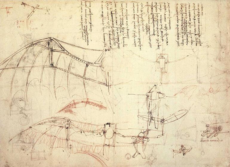 Leonardo da Vinci estudio de los movimientos de las alas de los murciélagos
