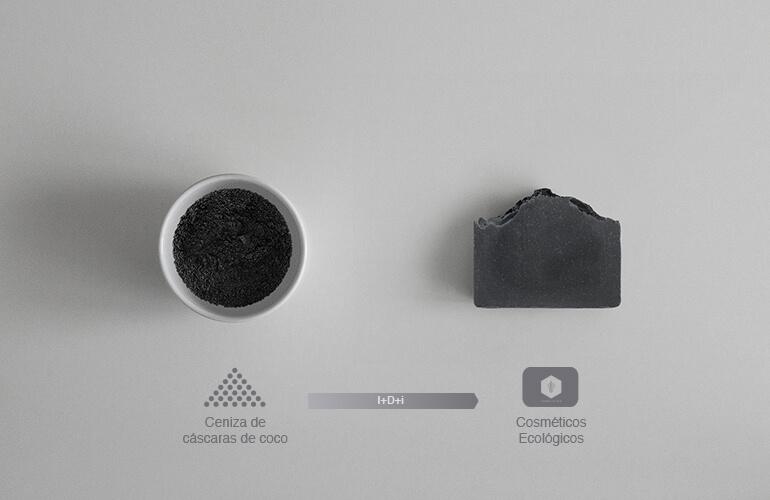 Aplicando I+D+i hemos transformado las cáscaras de coco en cosméticos ecológicos certificados de ceniza